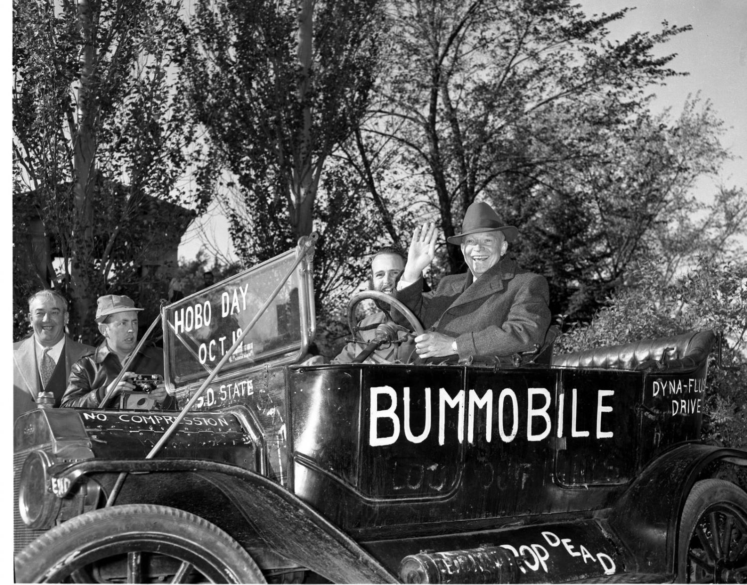 One of the Bummobile's most well-known passengers is President Dwight Eisenhower. He attended the 1952 Hobo Day during his election campaign.