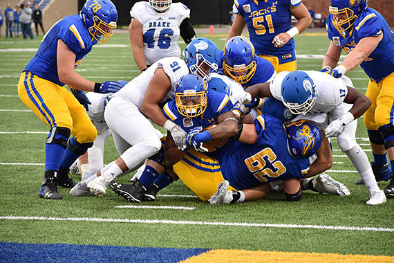 Isaac Wallace (35) pushes through the tackle to make a touchdown for SDSU during the Drake game Sept. 16. The Jacks won 51-10.