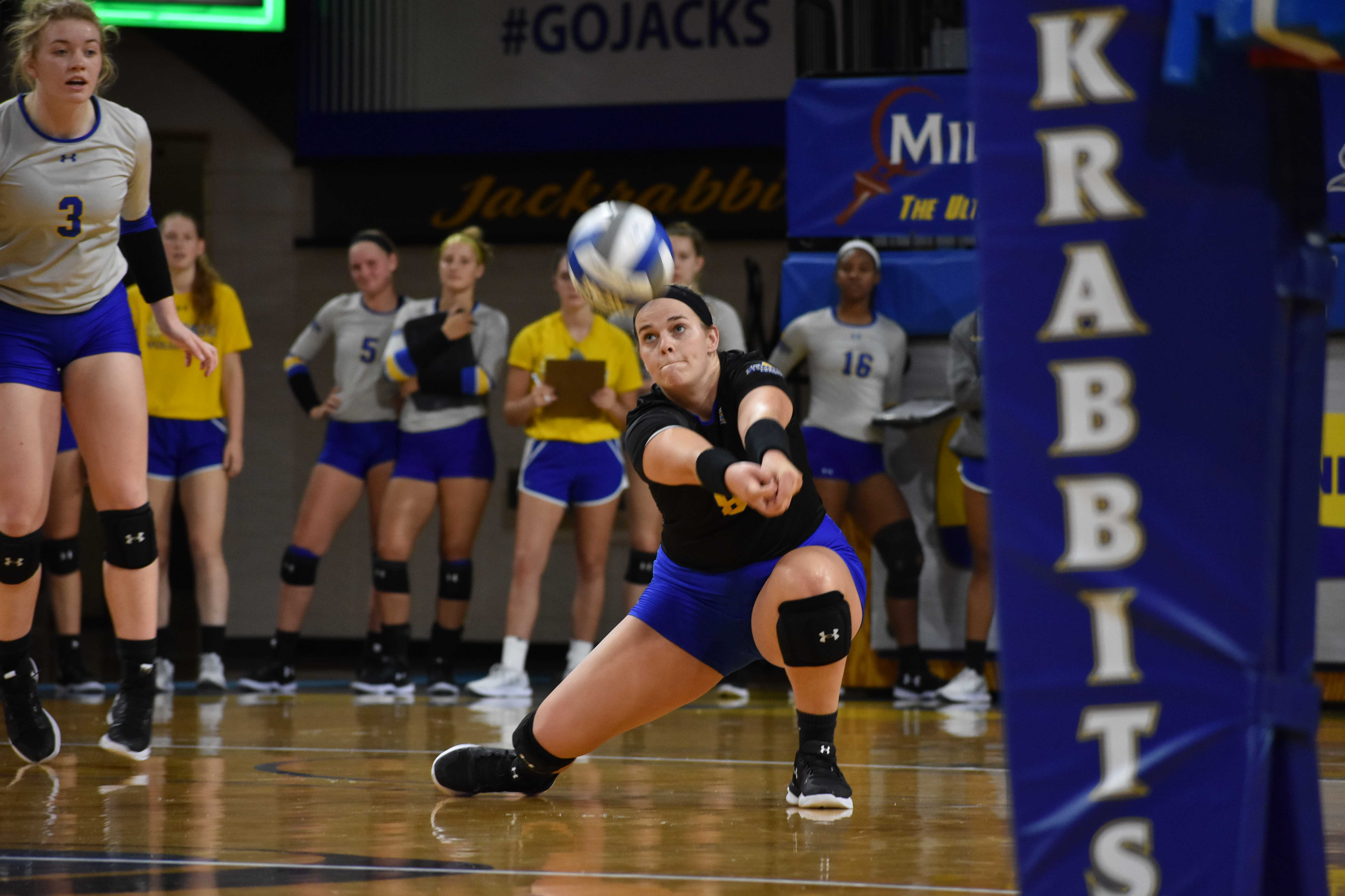 ABBY FULLENKAMP The South Dakota State volleyball team is still in rebuilding mode during head coach Nicole Cirillo's third season. The Jacks are currently 2-19 and want to use the rest of the season to learn for next year.