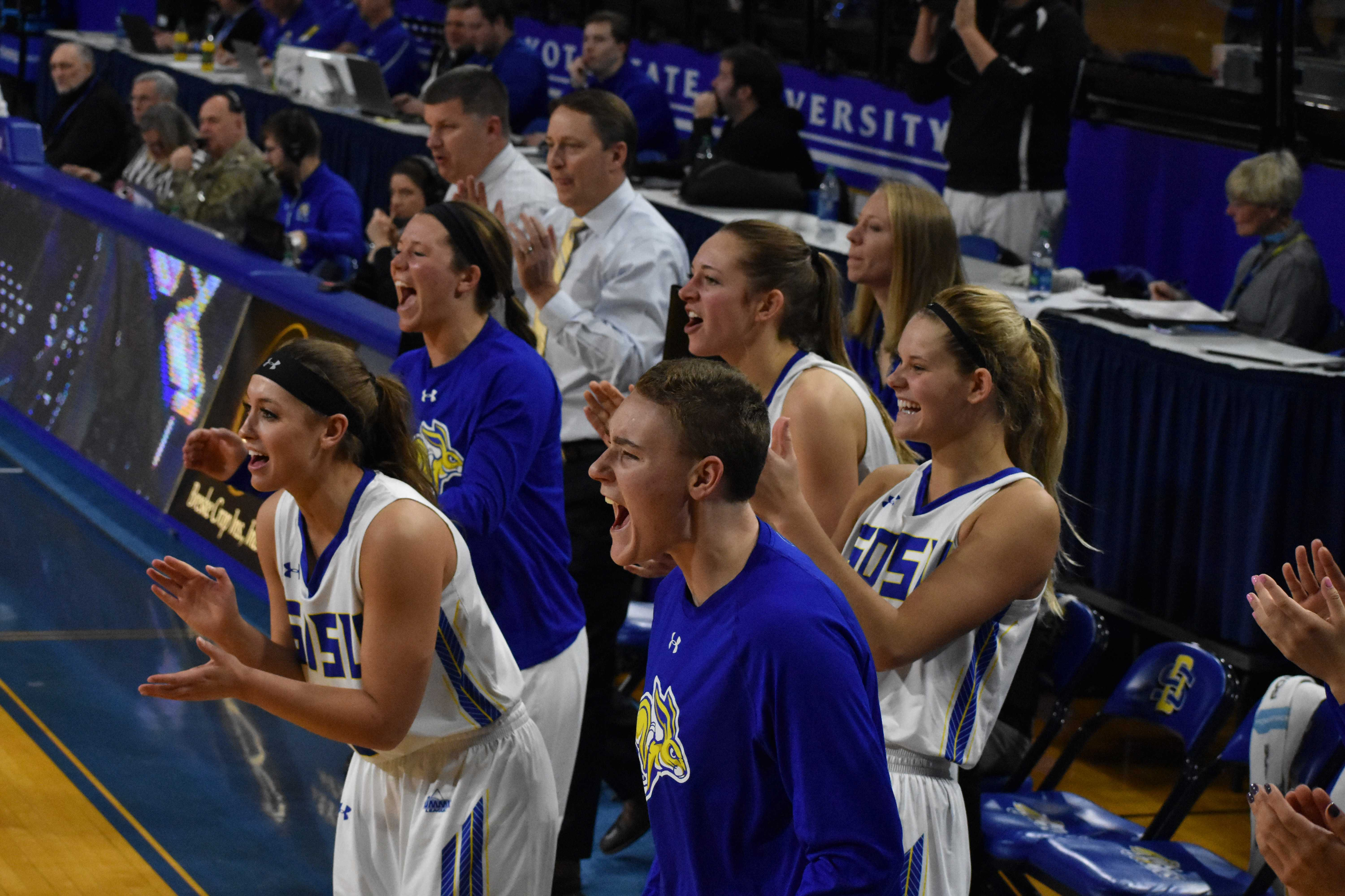 ABBY FULLENKAMP The Jacks celebrate a basket scored by Ellie Thompson (45) during the second half of the Jan. 6 game against NDSU in Frost Arena. The Jacks beat the Bison 83-63. The South Dakota State 2017-18 women's basketball roster has players from North Dakota, Minnesota, Nebraska and South Dakota. Recruiting the best players from around the region has put The Jacks at the top the Summit League with a 15-4 record.
