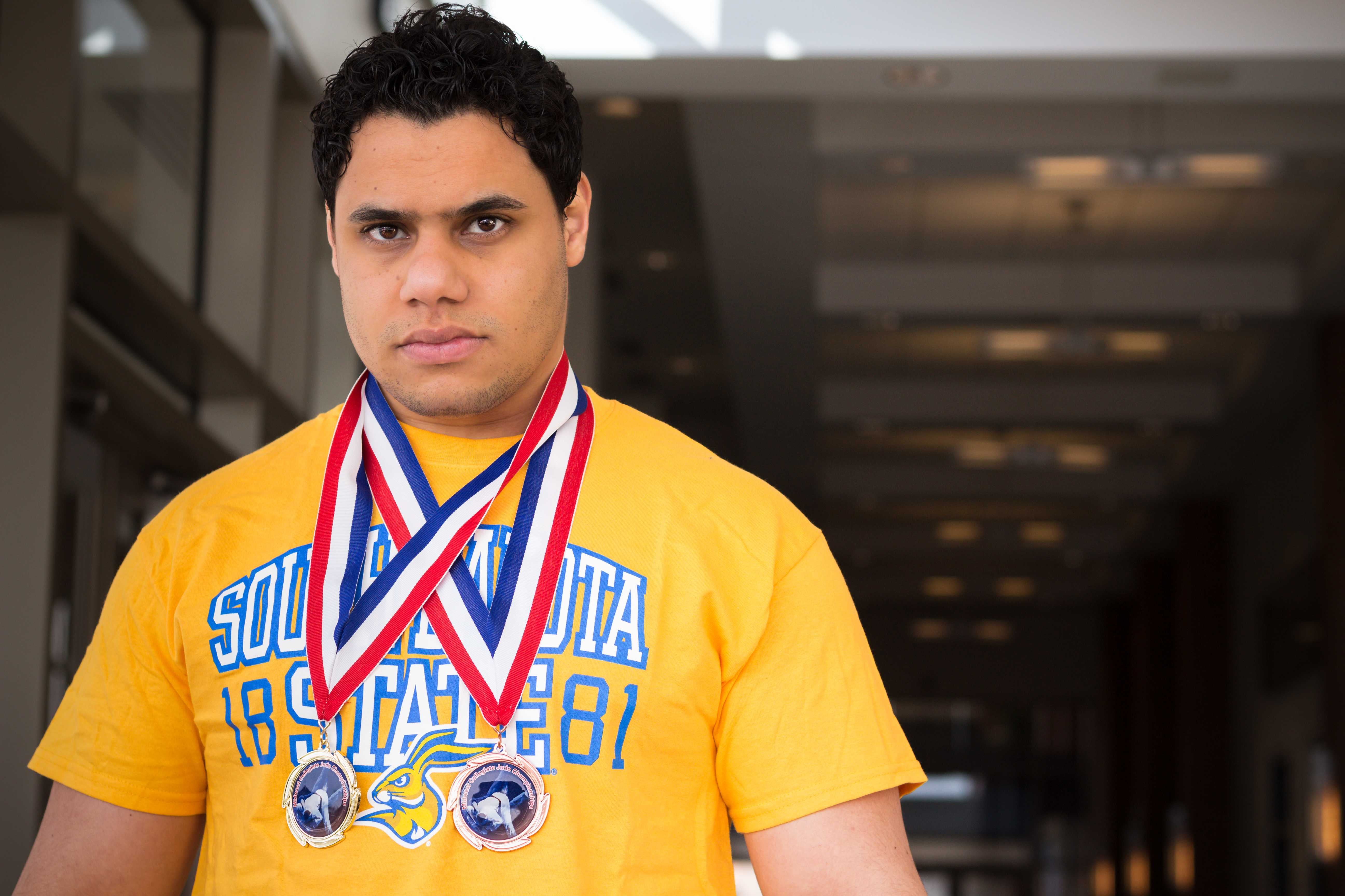 FRANKIE HERRERA Ahmed Abouelhassan, junior civil engineering major, represented SDSU at the 2018 Midwest Collegiate Judo Championship Feb. 10 in Savoy, Illinois.  Abouelhassan won the gold medal for 100 kgs in the collegiate division and bronze in the senior heavyweight category.