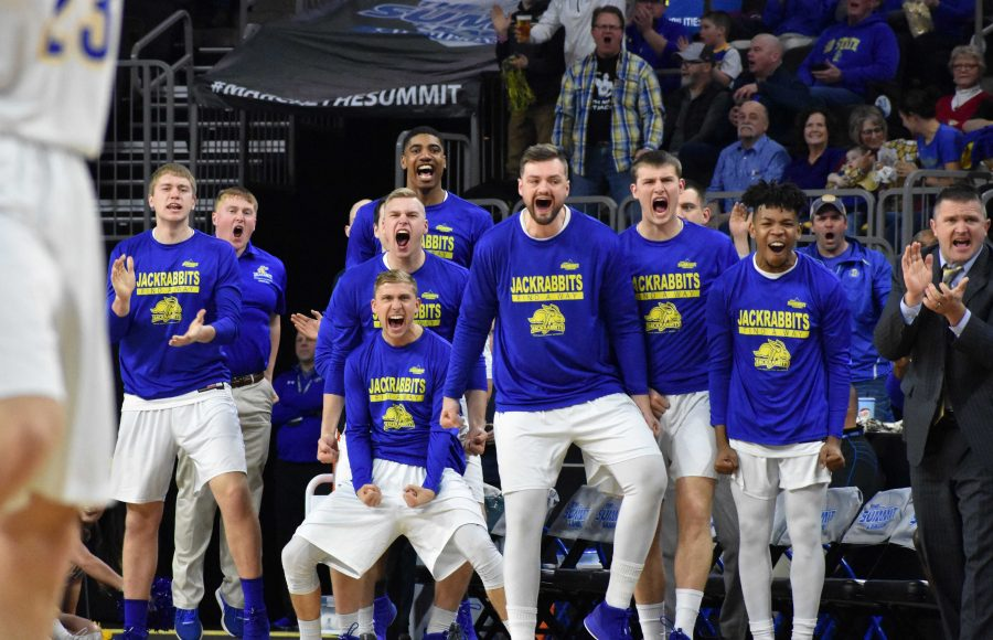 The+Jacks+celebrate+a+Tevin+King+%282%29+basket+during+the+first+half+of+the+game+against+NDSU+March+5.+The+Jacks+beat+the+Bison+78-57.+SDSU+advances+to+the+championship+where+they+will+face+USD+at+8+p.m.+March+6+in+the+Denny+Sanford+Premier+Center.+By%3A+Abby+Fullenkamp