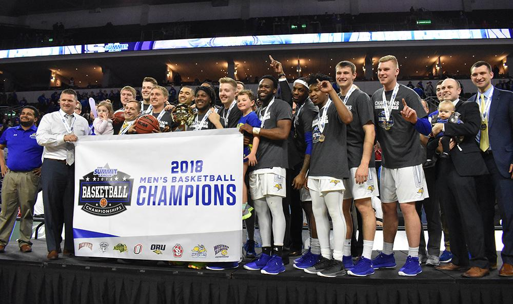 The Jacks celebrate winning the Summit League Championship tournament March 6. SDSU defeated USD 97-87. The Jacks advance to the NCAA tournament. By: Abby Fullenkamp