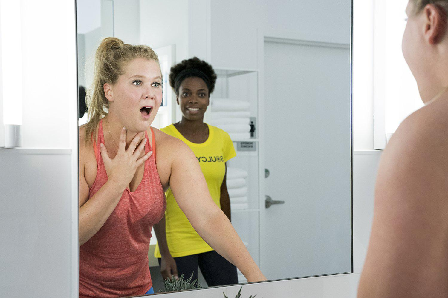 """VOLTAGE PICTURES An ecstatically surprised Renee Bennett (Amy Schumer) discovers her """"new body"""" after a head injury in a SoulCycle class. """"I Feel Pretty"""" plays off of the comedic situations Bennett finds herself after a boost in body confidence. The film opened third at the U.S. box office with $16 million."""