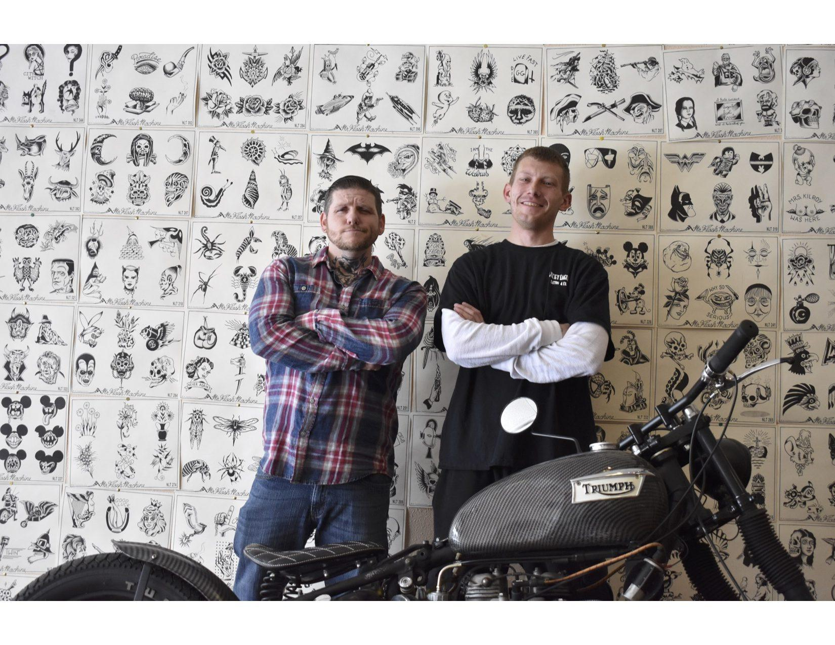 """ABBY FULLENKAMP Lucky Eagle Tattoo Company is a new shop in downtown Brookings. Josh Birrittieri (left) and Dustin """"DJ"""" Eckman are co-owners and artists. They specialize in traditional and neo-traditional Americana style tattoos. The shop is open 12 to 8 p.m. Tuesday through Saturday."""