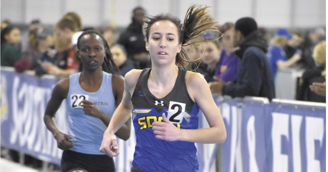 ABBY FULLENKAMP Junior Rachel King competes in the second heat of the women's 5,000-meter run Feb. 10. The Jacks will travel to Vermillion for the Dakota Duals Saturday, April 7.