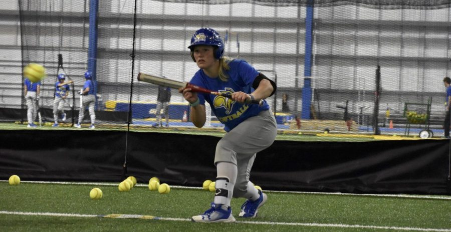 ABBY+FULLENKAMP%0AJunior+Ali+Herdliska+readies+to+bunt+the+ball+during+practice+April+9+in+the+SJAC.+The+Jacks+face+Western+Illinois+April+28+and+29+in+Macomb%2C+Illinois.+SDSU+is+27-12+overall+and+8-3+in+the+conference.