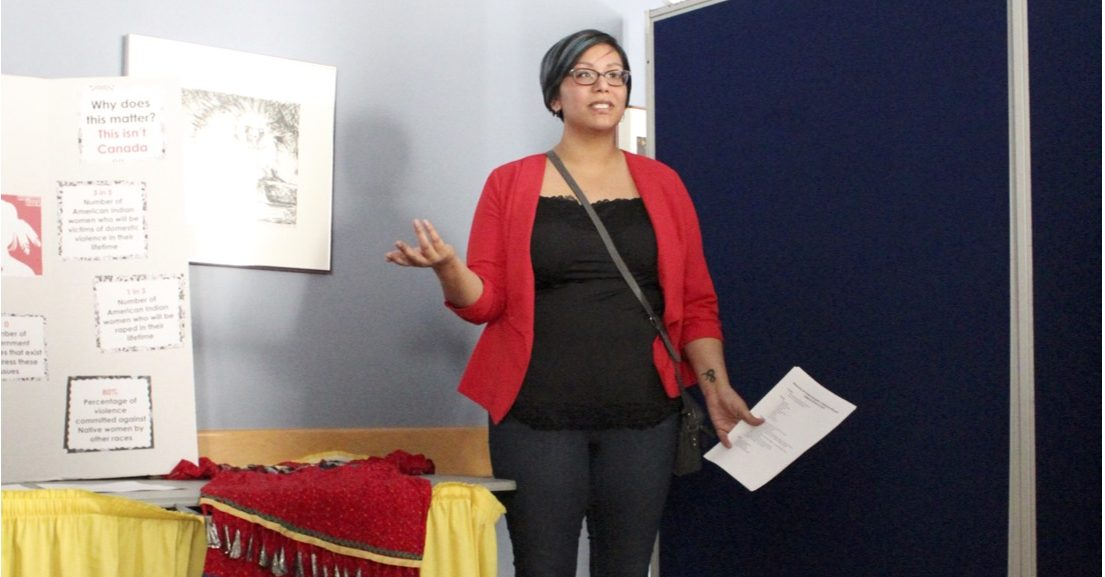 JENNY NGUYEN Graduate admin assistant, Alaina Hanks (Anishinaabe) gives a presentation at the Tunnel of Oppresion on April 18 about how the police force takes Native Americans going missing and being murdered too lightly.