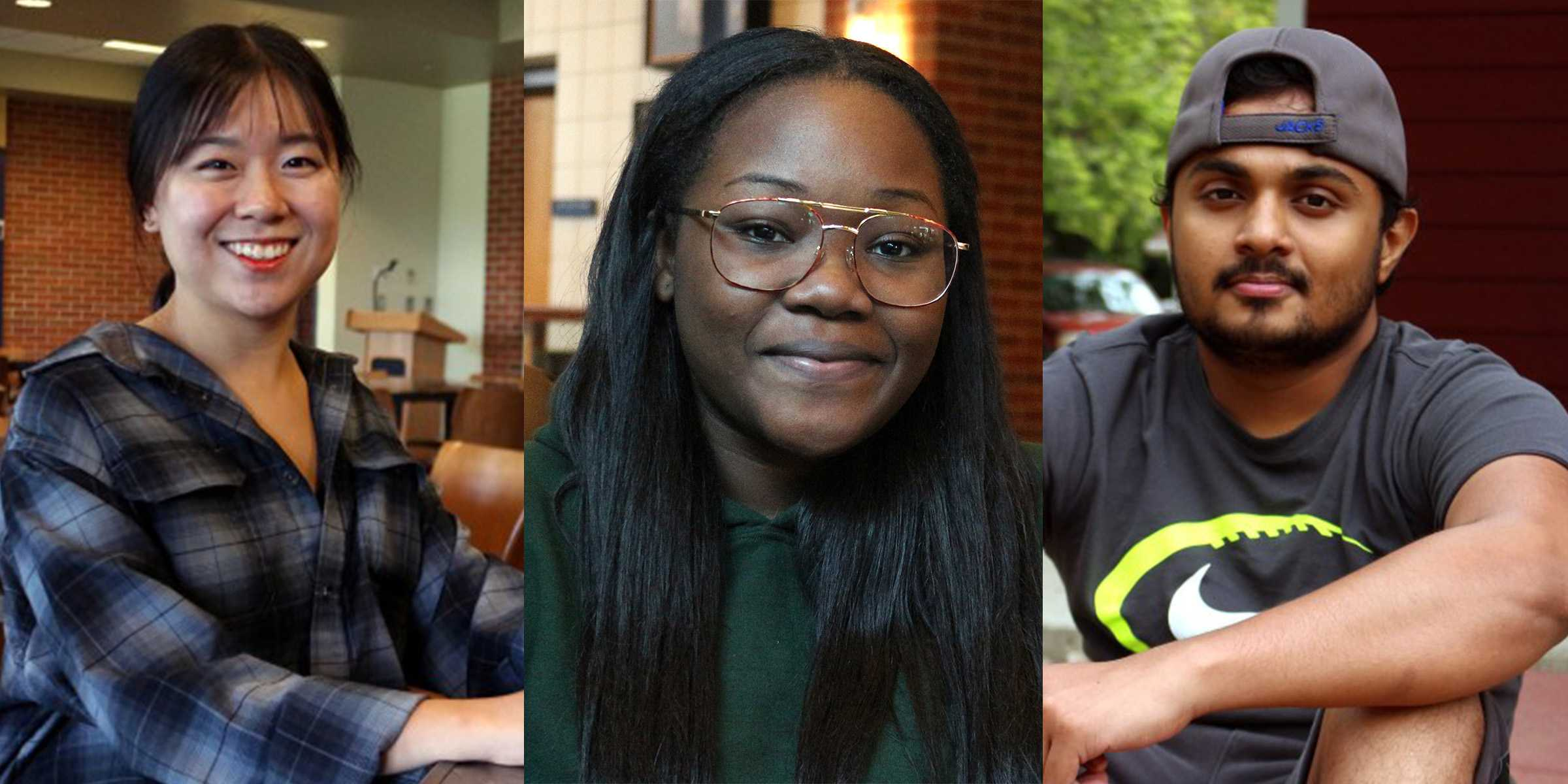 IAN LACK (Left to right) International students Kathy Oh from South Korea, Grace Kavunge from Ivory Coast, Africa and Kaveen Jayamanna from Sri Lanka