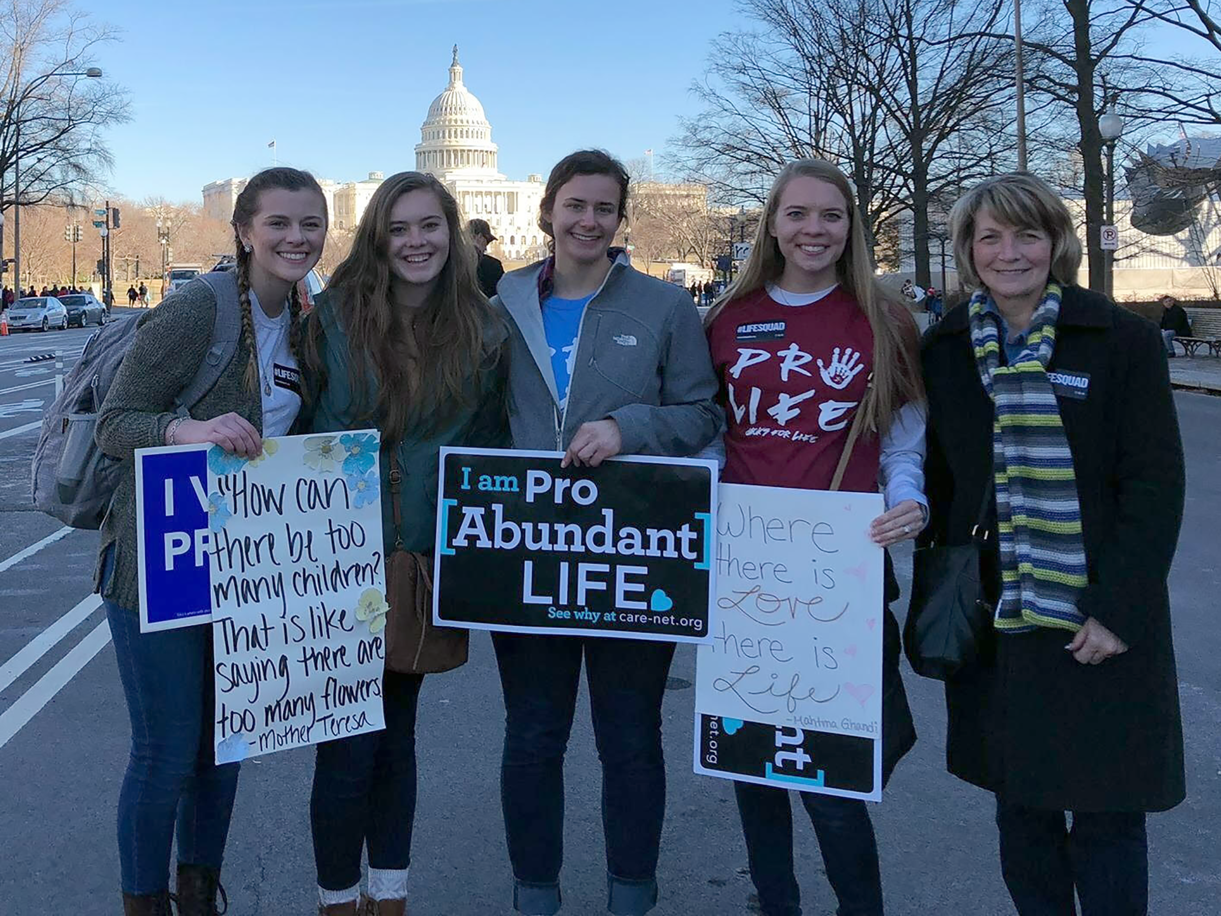 Jacks for Life members Megan Simon, Tessa Sleep, Sarah Haberman, Callie Duque and Barb Kleinjan attend the March for Life Jan. 19, 2018 in Washington D.C.