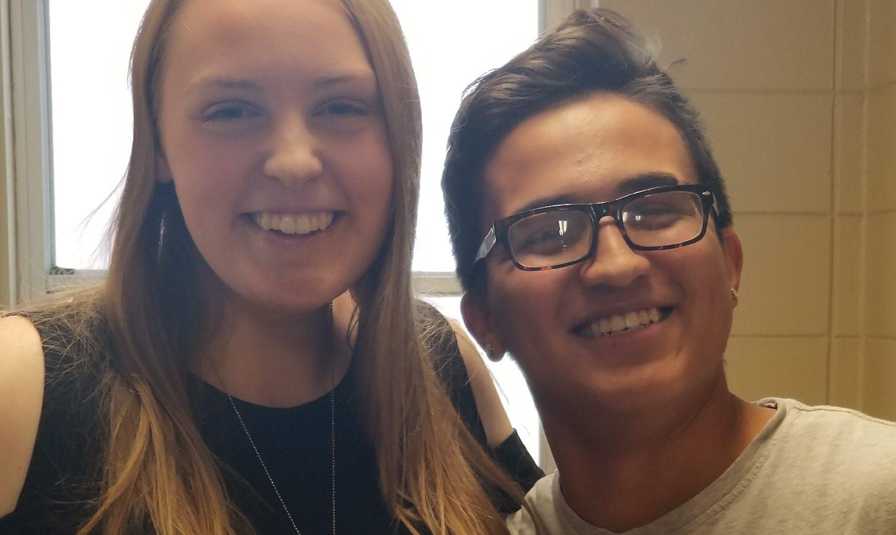 KOREY SCHULD Victoria Braley and Gabriel Inyan Pulliam-Sanchez pose for a picture on their blind date on Sept. 12, 2018.