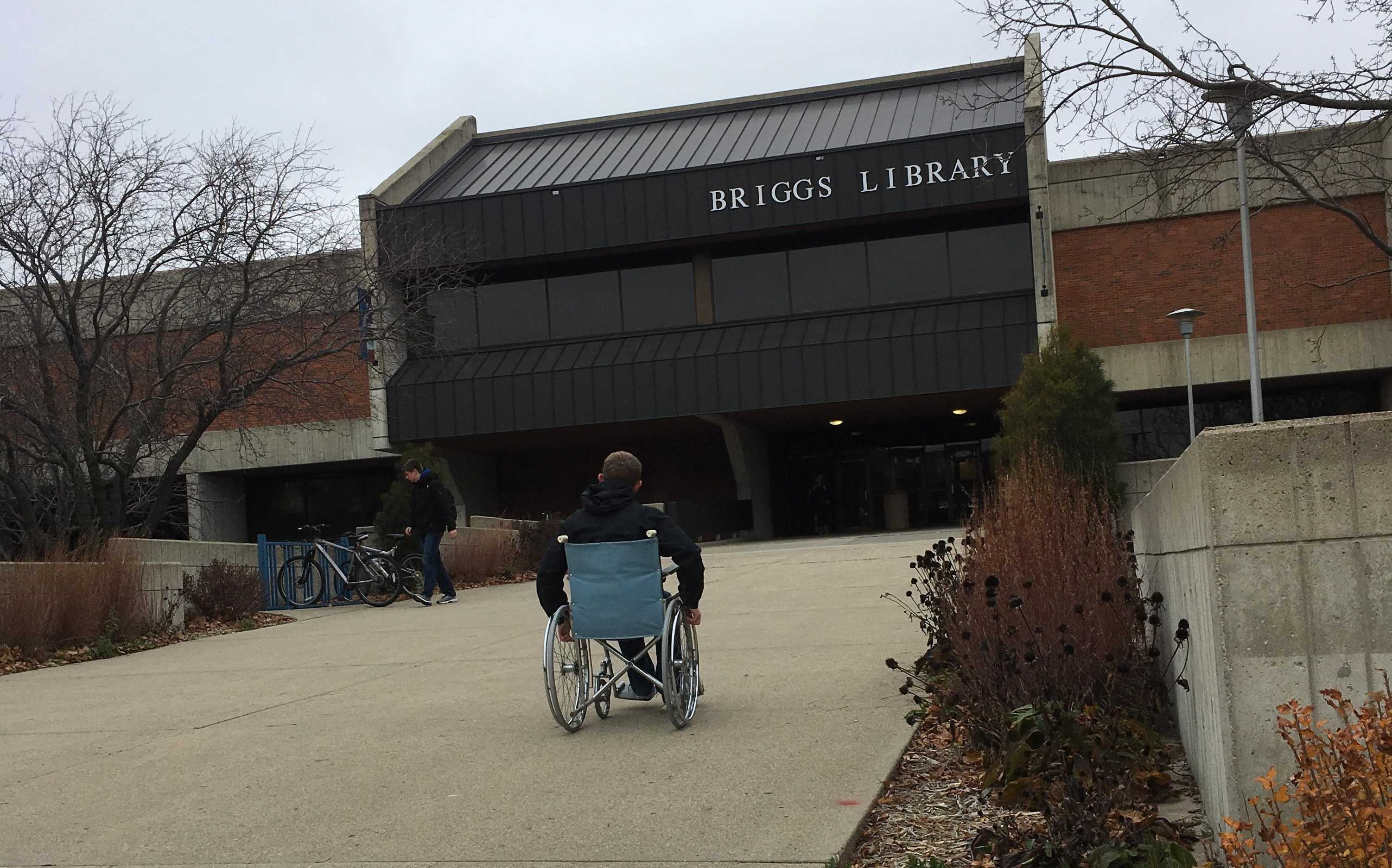 ABBY DONKERS Kyle Kueper, a senior architecture major, participated in Donkers' project and used a wheelchair to get around campus.