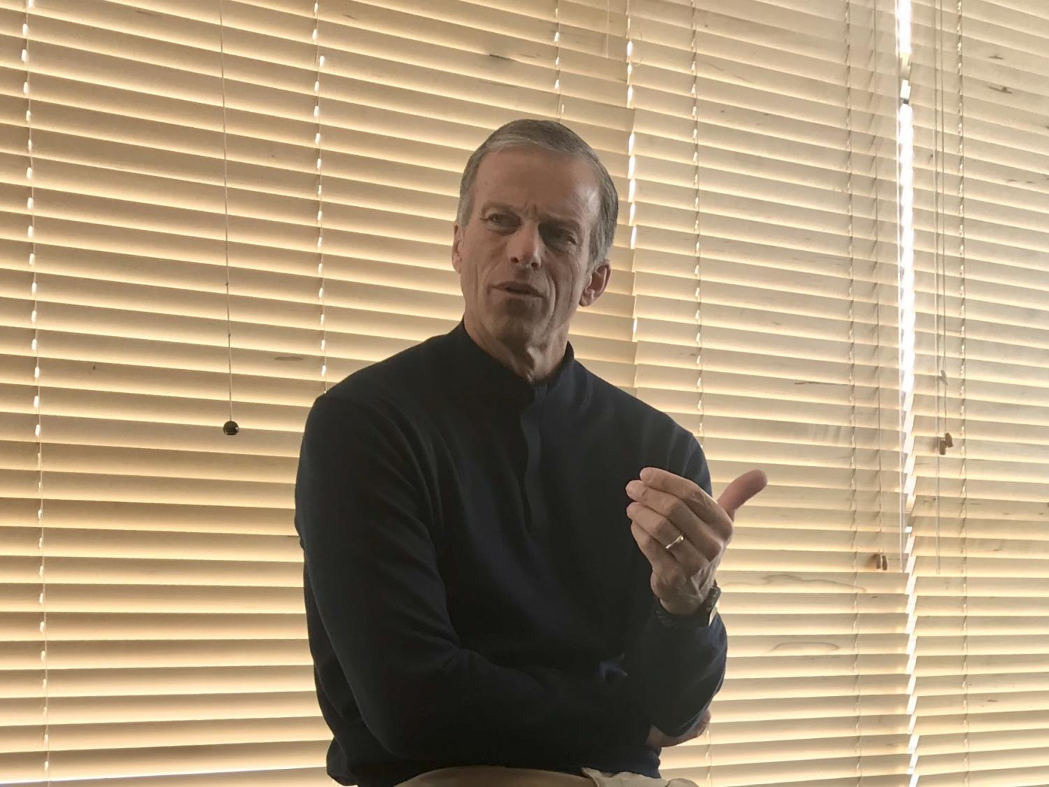 Majority Whip Sen. John Thune, R-S.D., talks to College Republicans Feb. 21 in the Herold Crest Room.