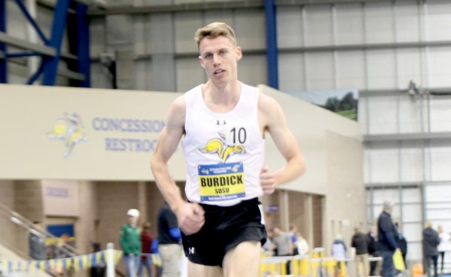 Senior Kyle Burdick scored 30 individual points, receiving the Men's Track Championship MVP during the Summit League Championship Track Meet on Friday, Feb. 22 and Saturday, Feb. 23 in the Sanford-Jackrabbit Athletic Complex.