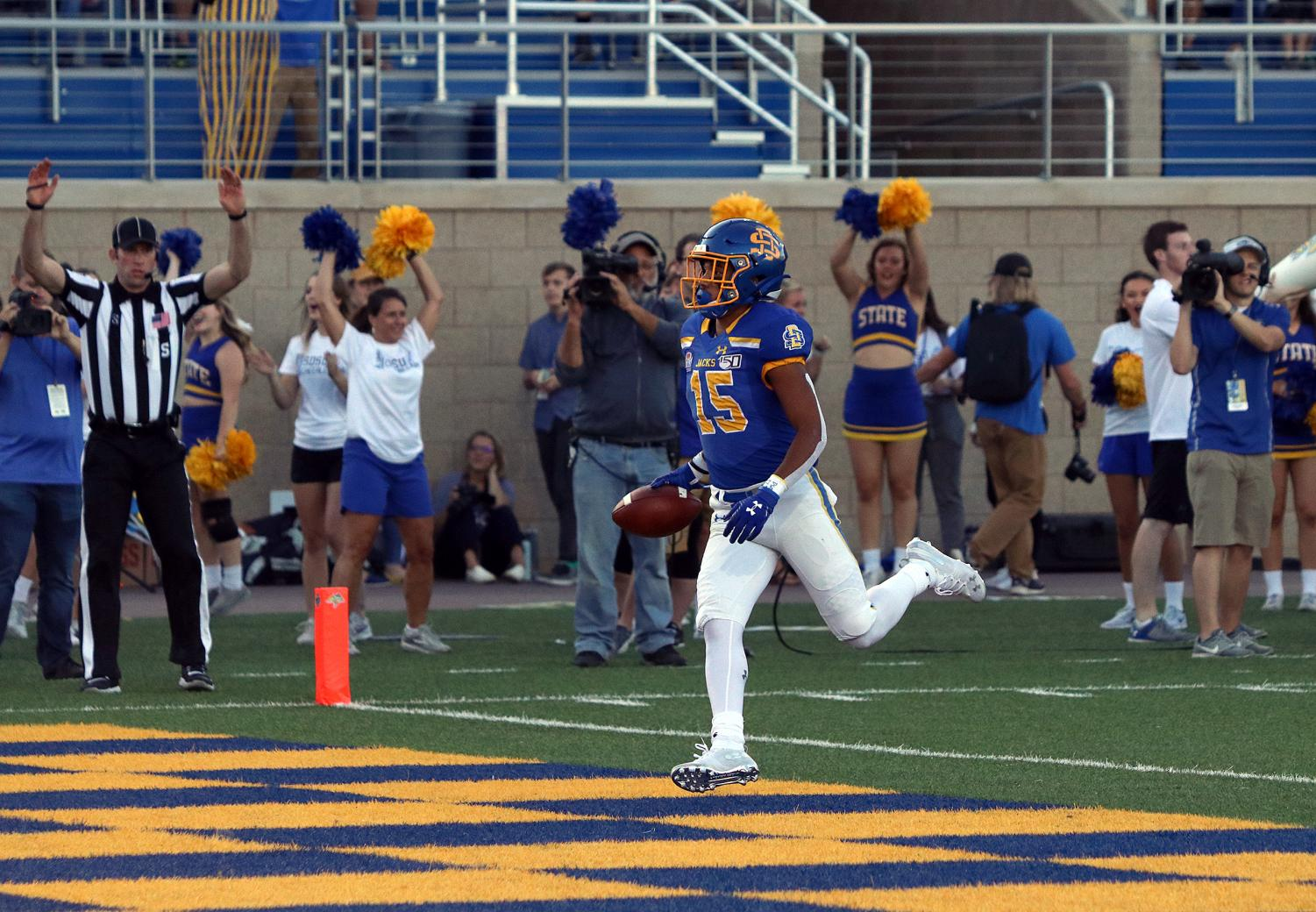 South Dakota State receiver Cade Johnson finds the endzone Saturday, Sept. 21, against Southern Utah. Johnson caught five passes for 68 yards and a touchdown in the Jackrabbits' 43-7 thrashing of SUU.