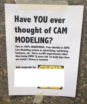 Unapproved posters calling for cam models appear on campus