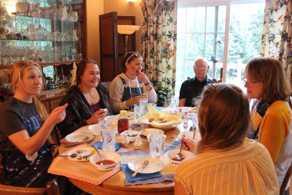 Professor Nursing Paula Carson hosts Bum a Meal for SDSU students Regan Odegaard, Caitlin Daly, Emily Quaal, and Katelyn Hillson on Monday Sept. 30, 2019.